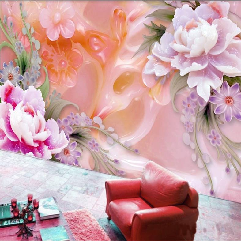 Wallpaper Custom Wallpaper 3d Wallpaper Dinding Bunga Flower 50
