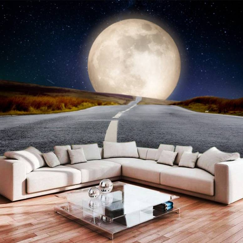 Wallpaper Custom Wallpaper 3d Wallpaper Dinding Langit Malam Bulan Purnama
