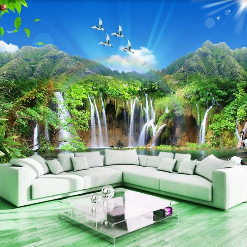 Wallpaper Custom Wallpaper 3d Wallpaper Dinding Air Terjun Waterfall 13