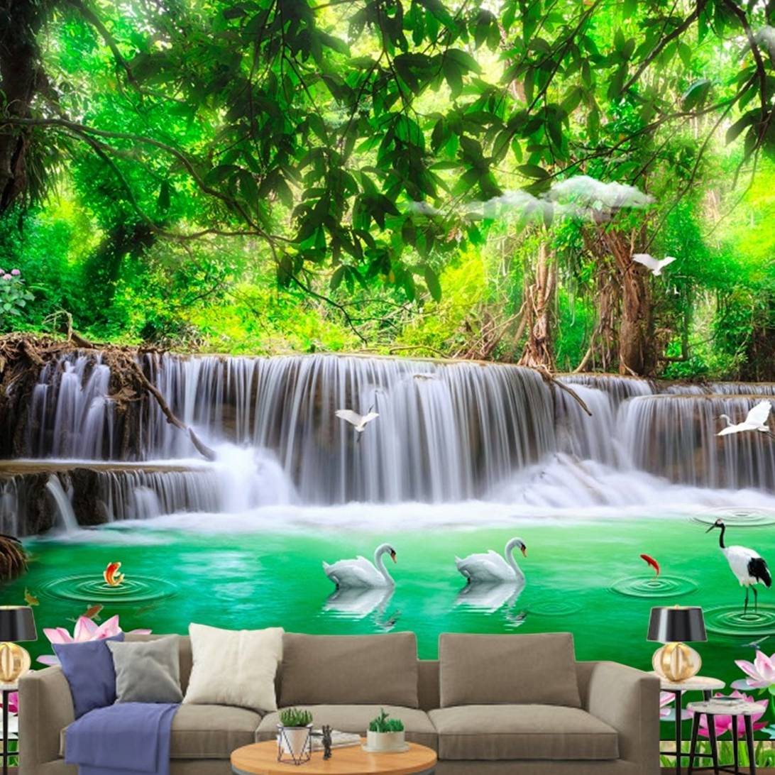 Wallpaper Custom Wallpaper 3d Wallpaper Dinding Air Terjun Waterfall 6