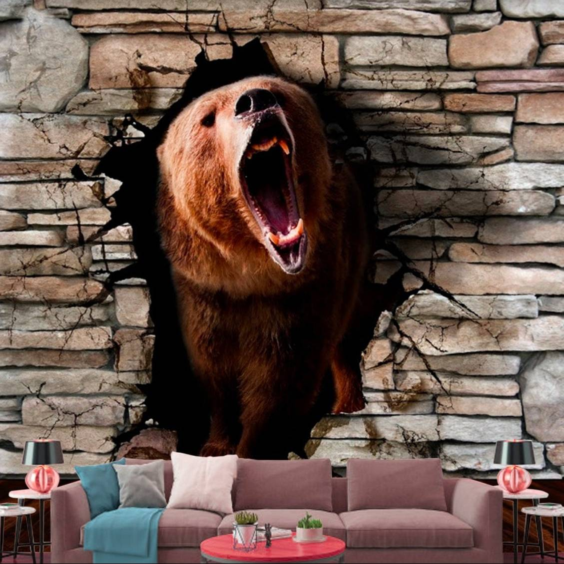Wallpaper Custom Wallpaper 3d Wallpaper Dinding Beruang Bear