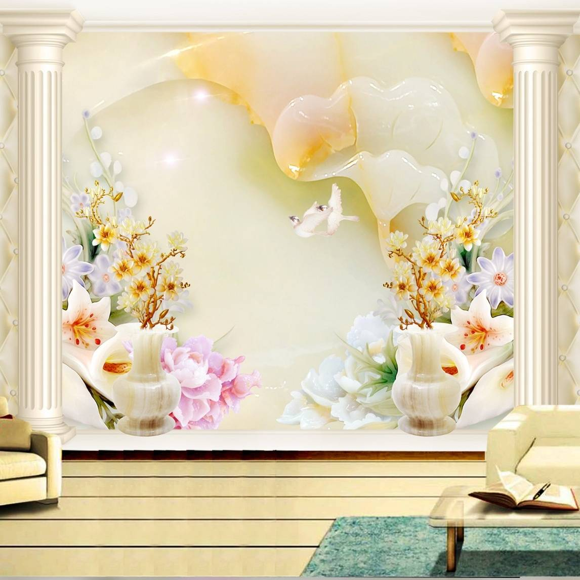 Wallpaper Custom Wallpaper 3d Wallpaper Dinding Bunga Flower