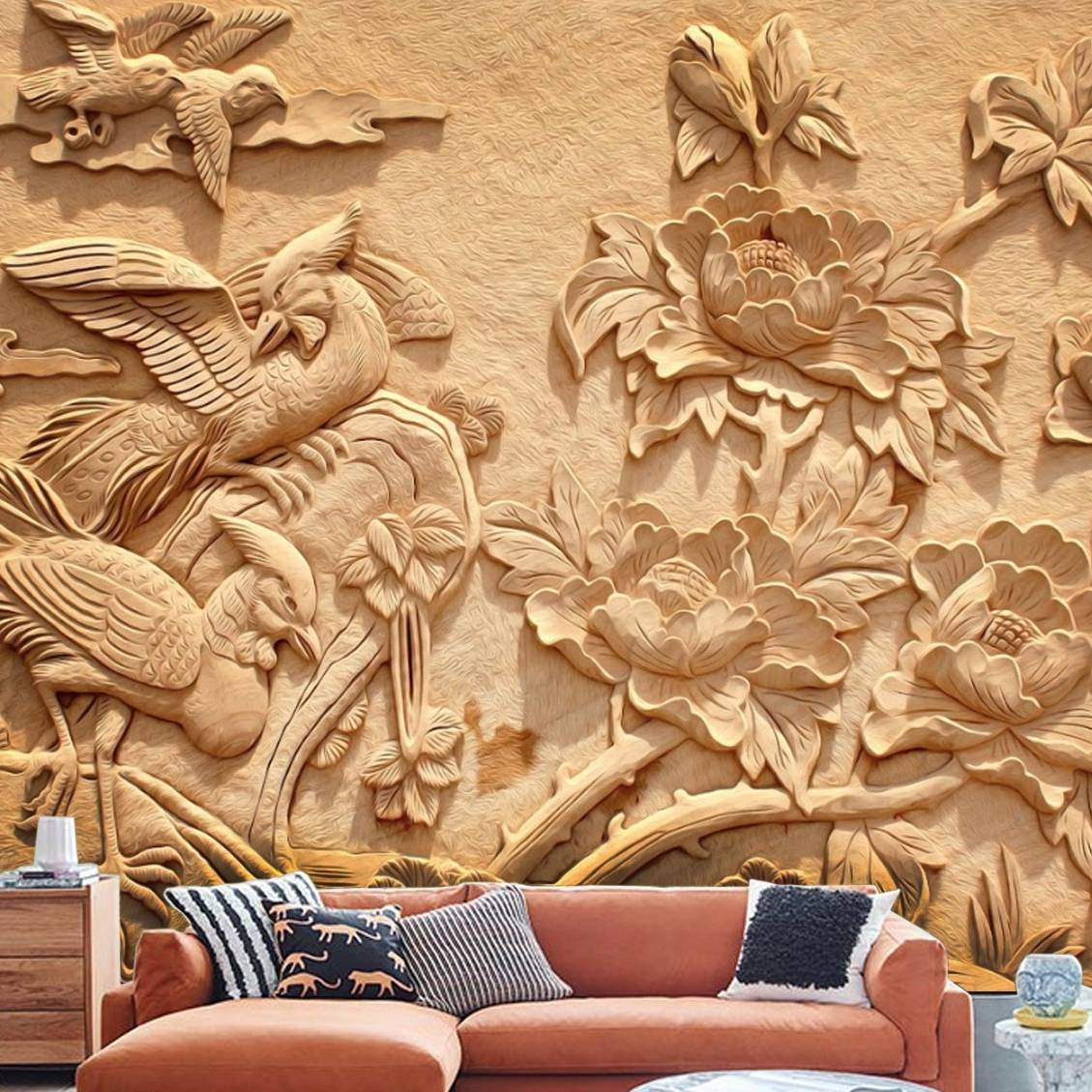 Wallpaper Custom Wallpaper 3d Wallpaper Dinding Burung Bunga