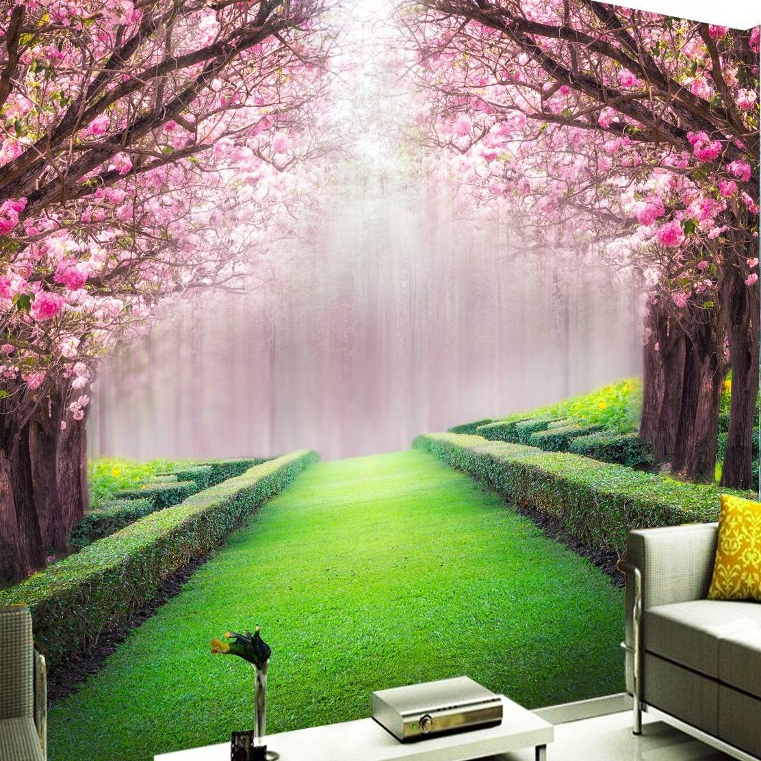 3D Custom Wallpaper Dinding Motif Sakura