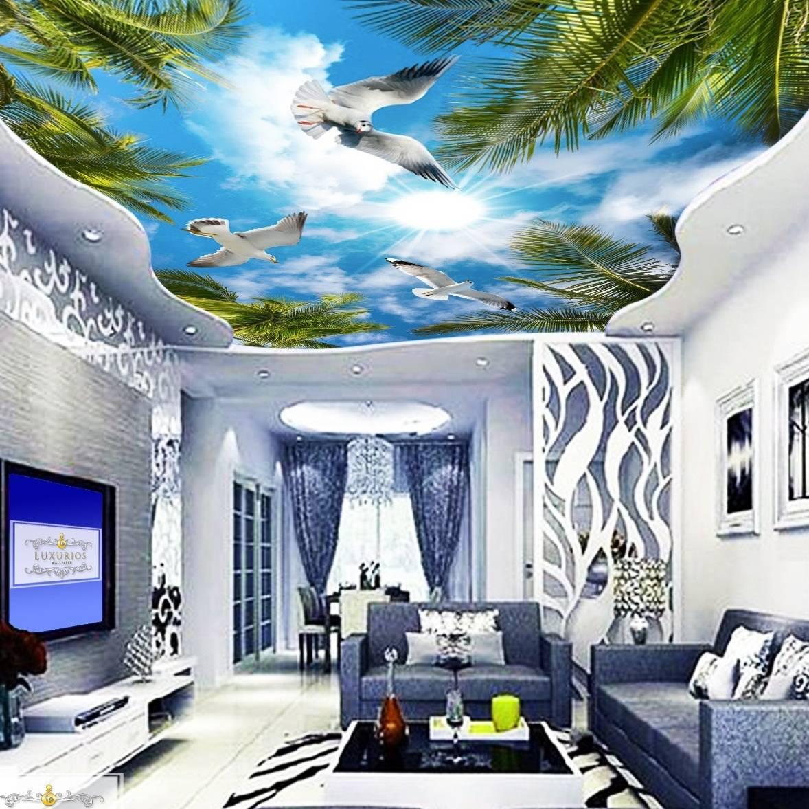 3D Custom Wallpaper Plafon - Motif langit burung | PLF - 027