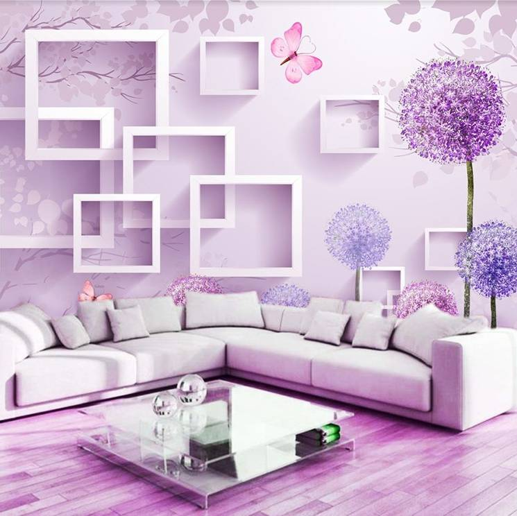 Wallpaper Custom Wallpaper 3d Wallpaper Dinding Square Dandelion Ungu