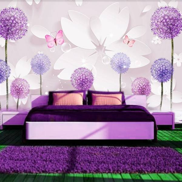 Wallpaper Custom Wallpaper 3d Wallpaper Dinding Bunga Dandelion Ungu