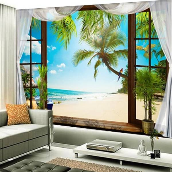 Wallpaper Custom Wallpaper 3d Wallpaper Dinding Pantai 2