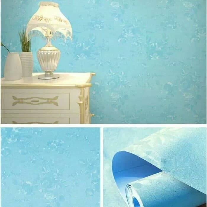 WALLPAPER STICKER 45CM X 10M KODE ZF130 WALLPAPER BIRU TEXTURE BUNGA