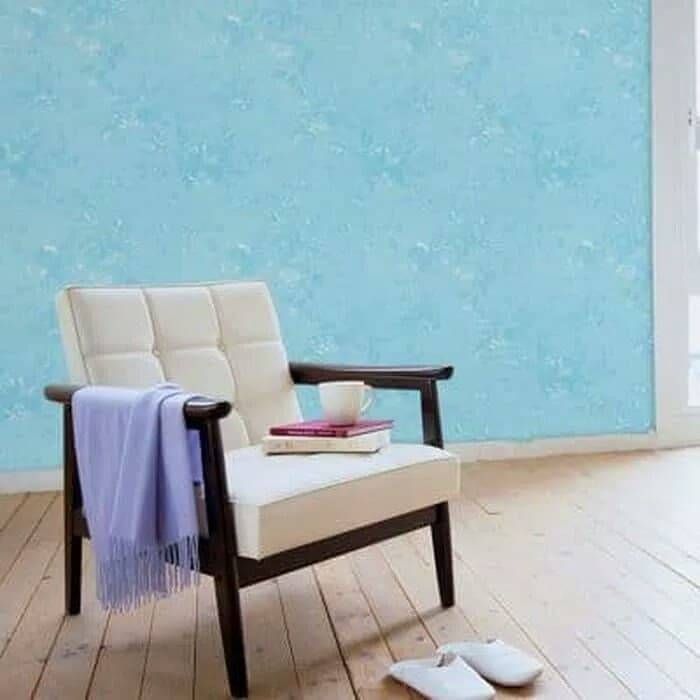WALLPAPER STICKER 45CM X 10M KODE ZF130 WALLPAPER BIRU TEXTURE BUNGA1