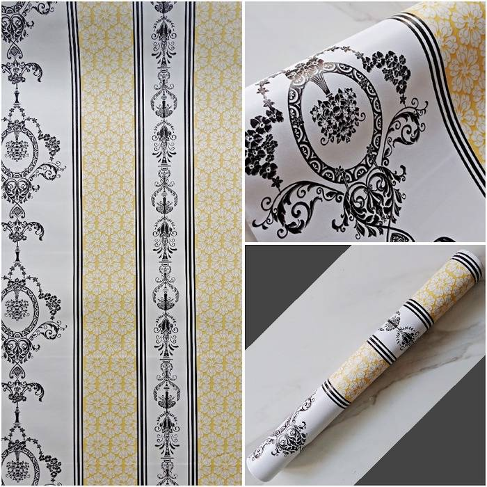 WALLPAPER STICKER 45CM X 10M KODE WI112-2 BATIK KUNING