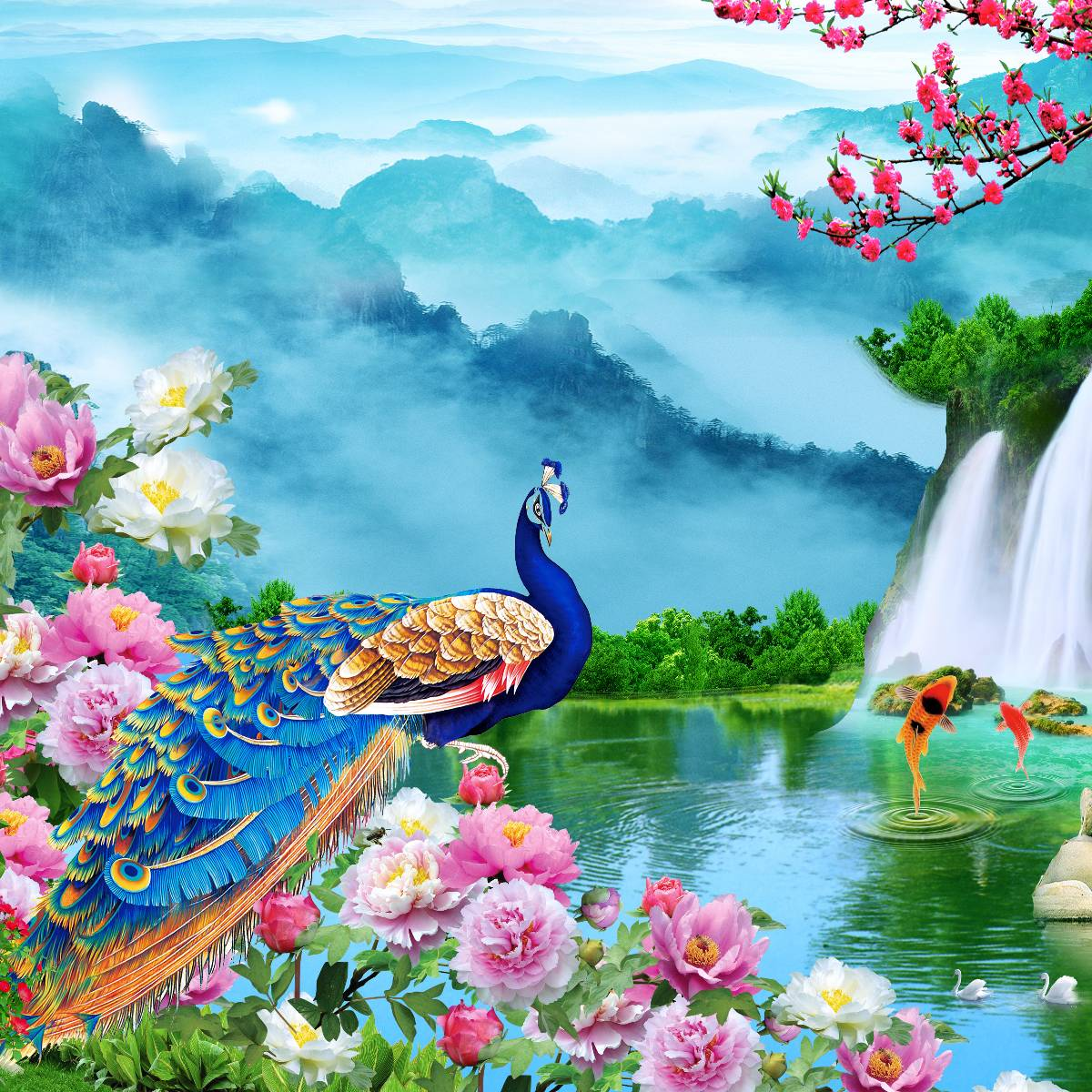 Wallpaper Custom Wallpaper 3d  Dinding TEBING WATERFALL BURUNG