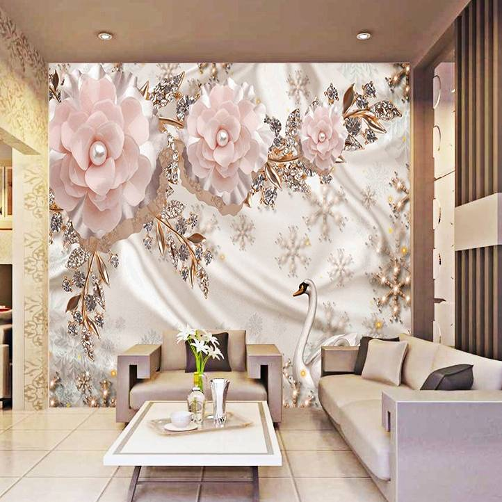 Wallpaper Custom Wallpaper 3d  Dinding BUNGA BUNGA0