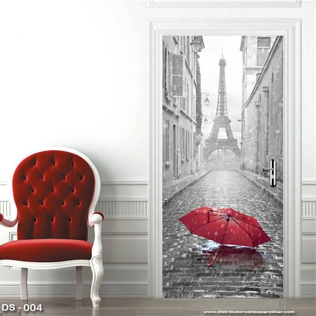 3D Door Sticker Custom | Uk 77 x 200 cm - DS - 004 Paris Umbrella0
