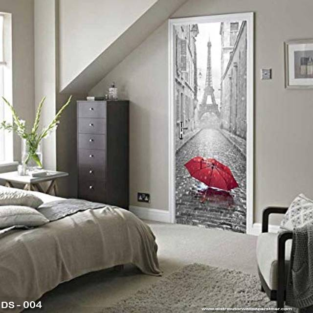 3D Door Sticker Custom | Uk 77 x 200 cm - DS - 004 Paris Umbrella1