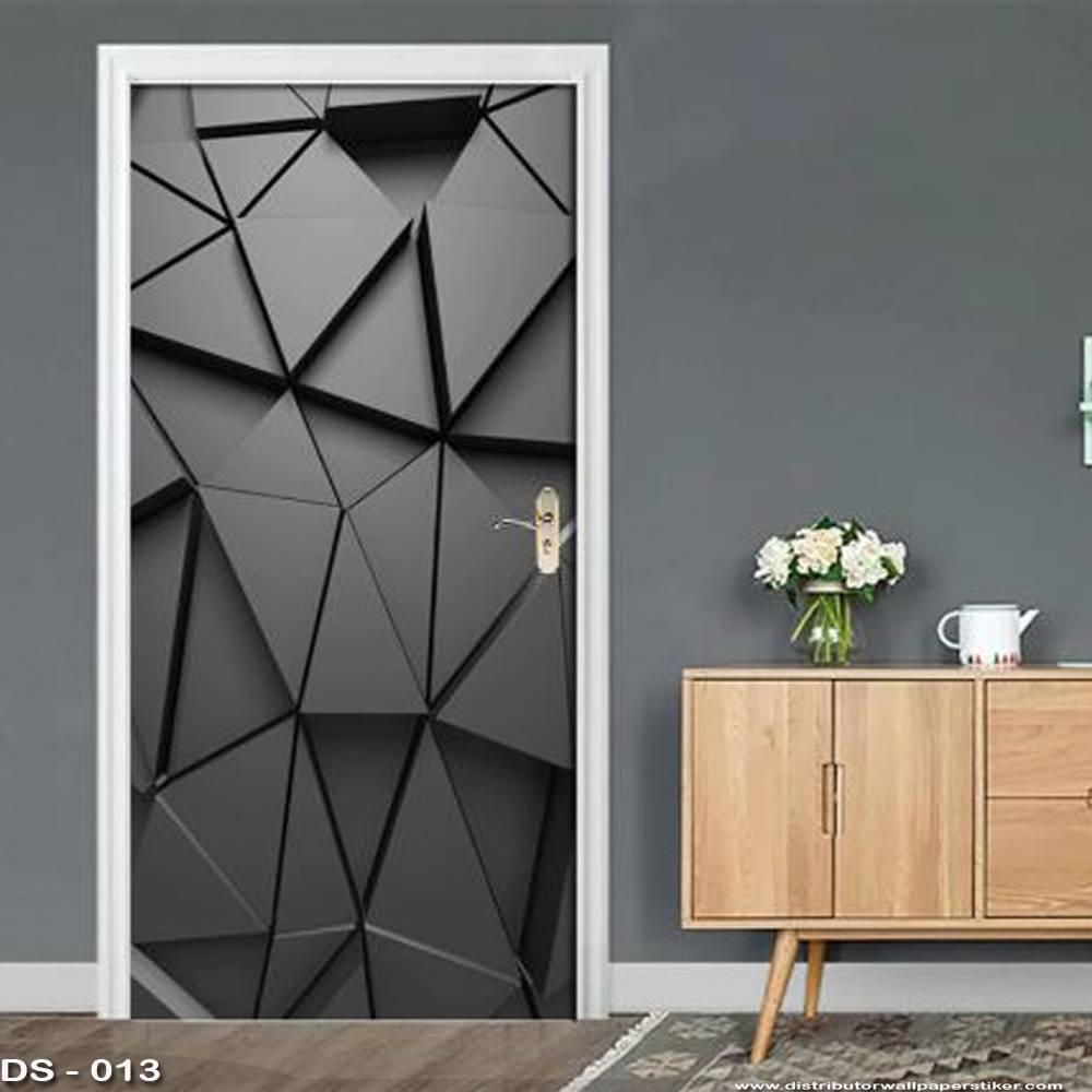 3D Door Sticker Custom   Uk 77 x 200 cm - DS - 013 Black0