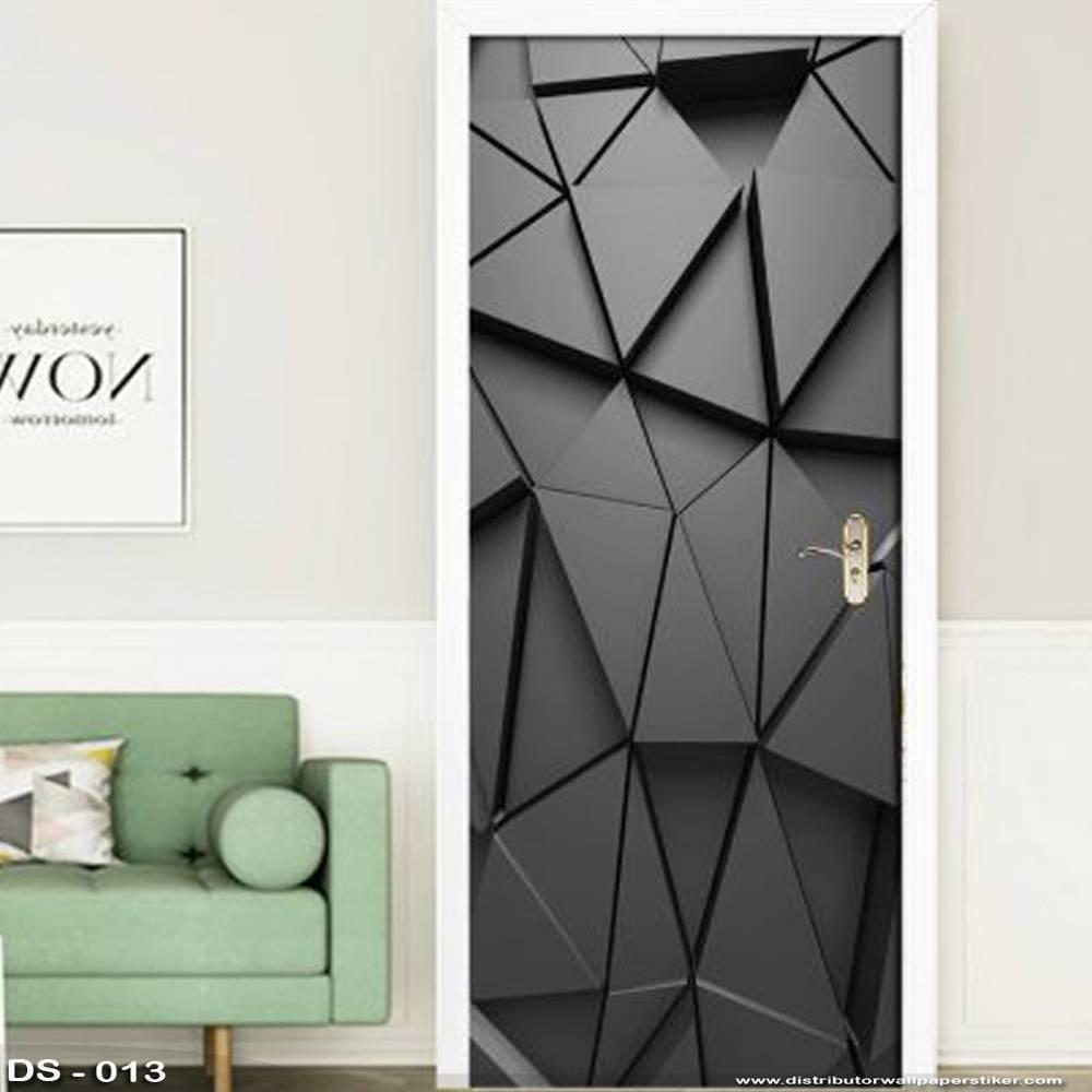 3D Door Sticker Custom   Uk 77 x 200 cm - DS - 013 Black1