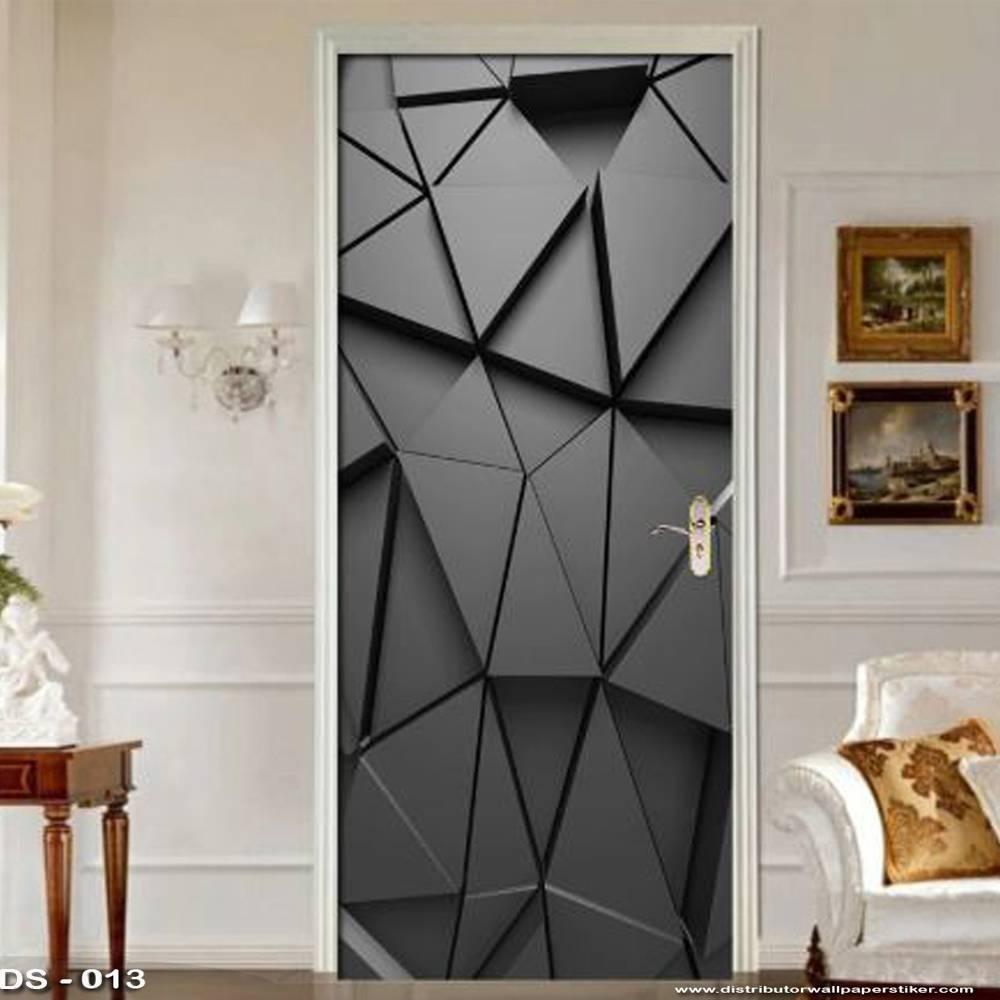 3D Door Sticker Custom   Uk 77 x 200 cm - DS - 013 Black2