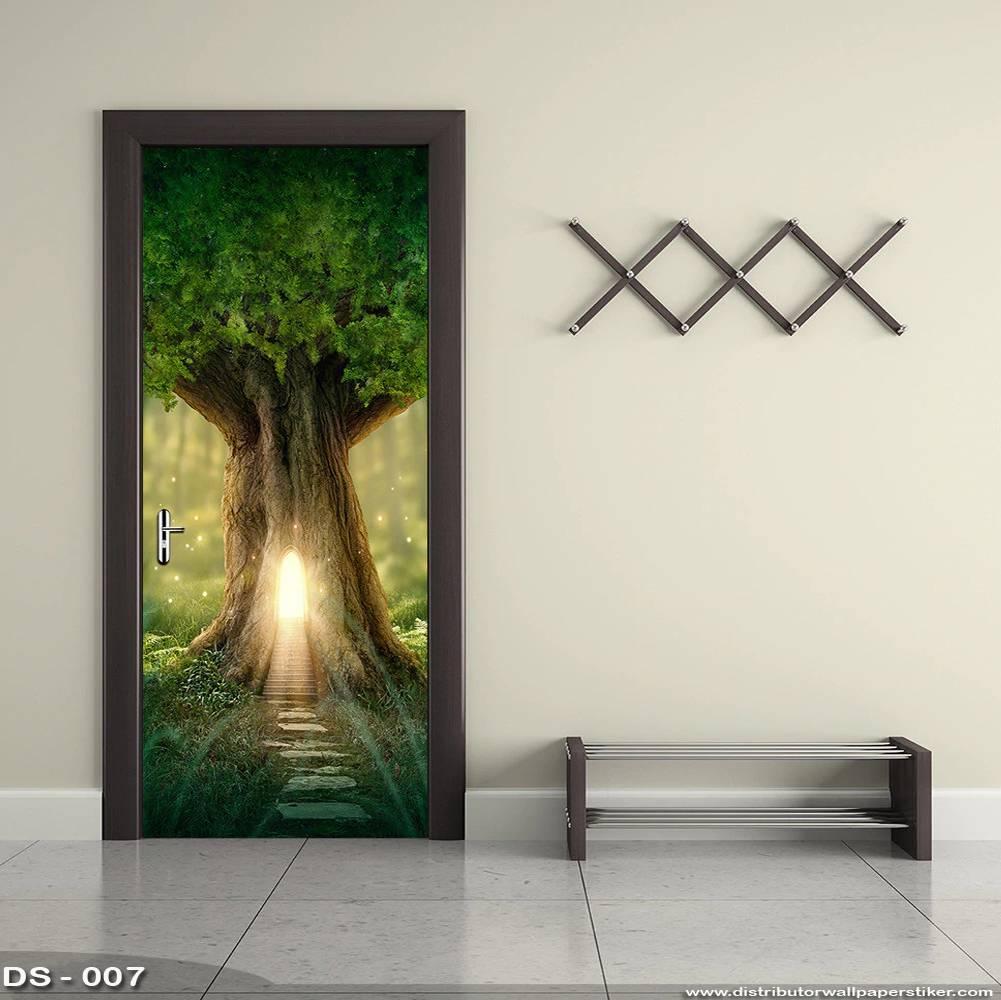 3D Door Sticker Custom | Uk 77 x 200 cm - DS - 007 Tree0