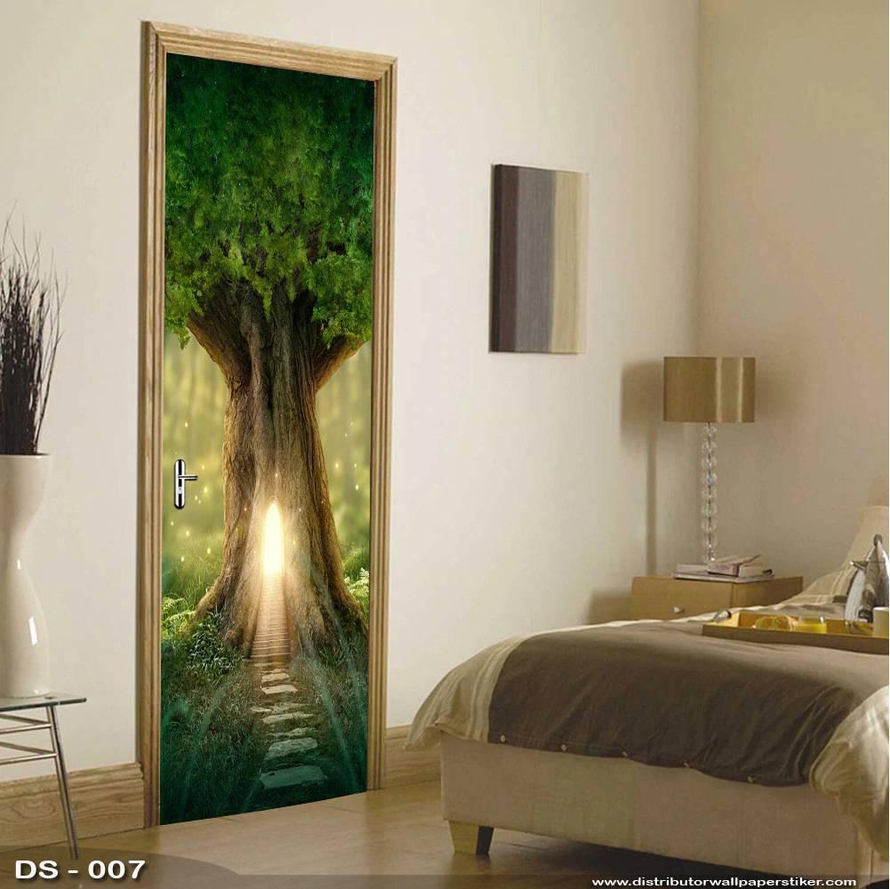 3D Door Sticker Custom | Uk 77 x 200 cm - DS - 007 Tree2