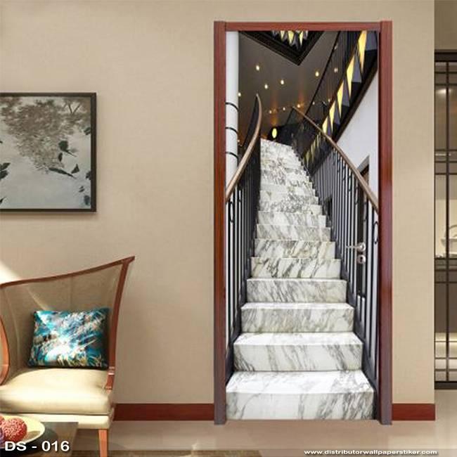 3D Door Sticker Custom | Uk 77 x 200 cm - DS - 016 Stair0