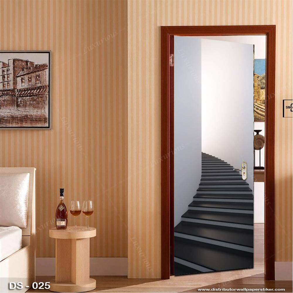 3D Door Sticker Custom | Uk 77 x 200 cm - DS - 025 Motif Tangga0