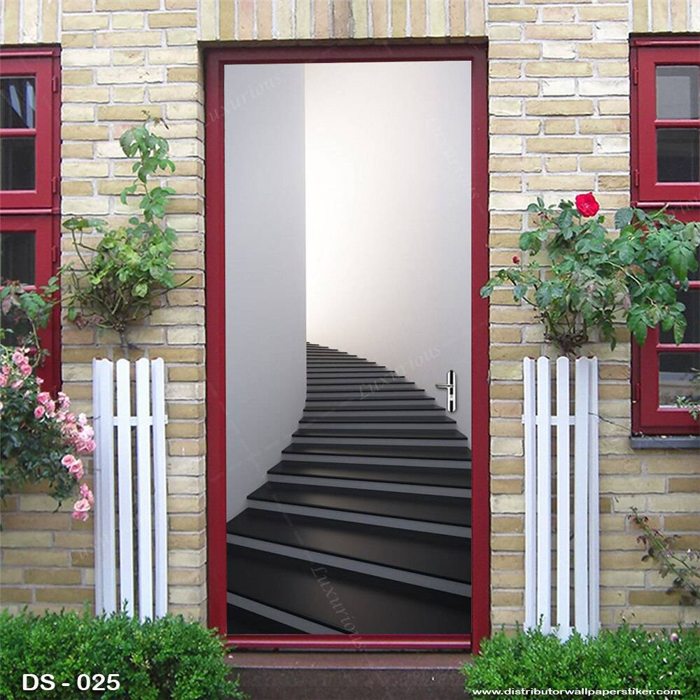 3D Door Sticker Custom | Uk 77 x 200 cm - DS - 025 Motif Tangga1
