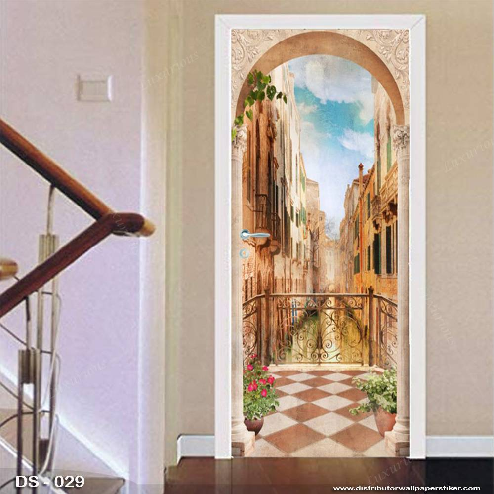 3D Door Sticker Custom | Uk 77 x 200 cm - DS - 029 Motif Balcony0