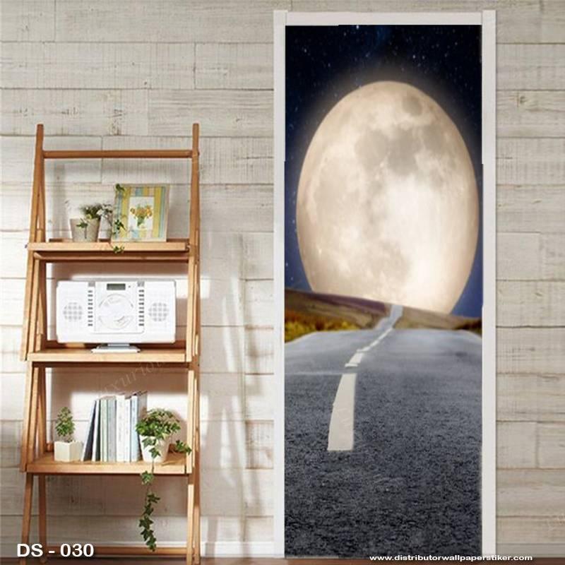 3D Door Sticker Custom | Uk 77 x 200 cm - DS - 030 Motif Moon Night0