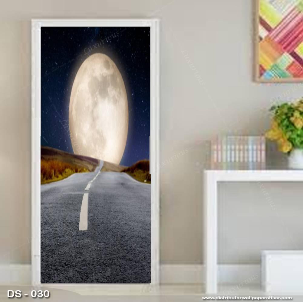 3D Door Sticker Custom | Uk 77 x 200 cm - DS - 030 Motif Moon Night2