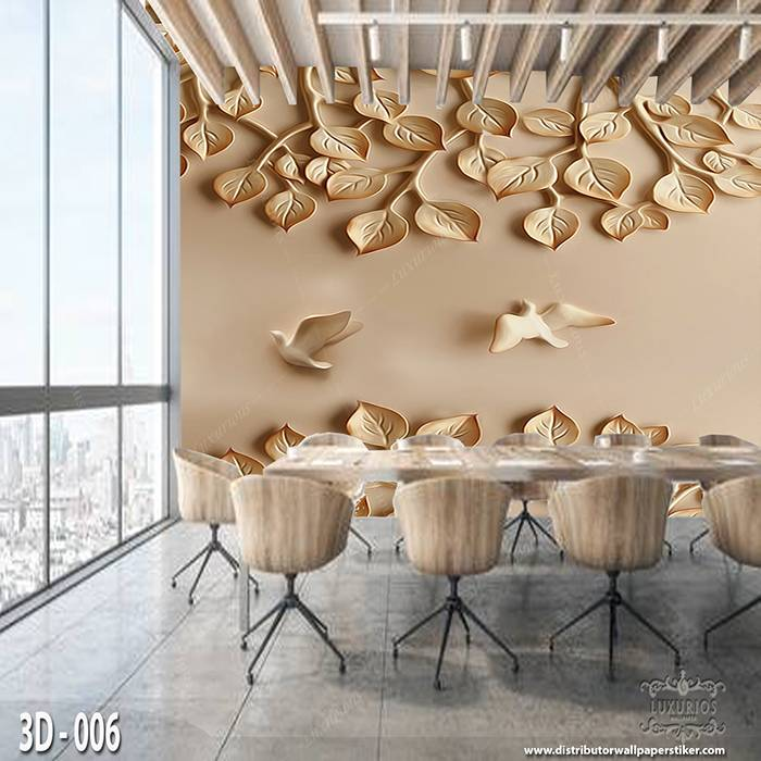3D Wallpaper Custom Wallpaper Dinding | Motif Ukiran Burung 3D - 0060