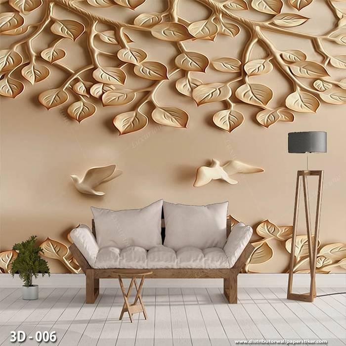 3D Wallpaper Custom Wallpaper Dinding | Motif Ukiran Burung 3D - 0061