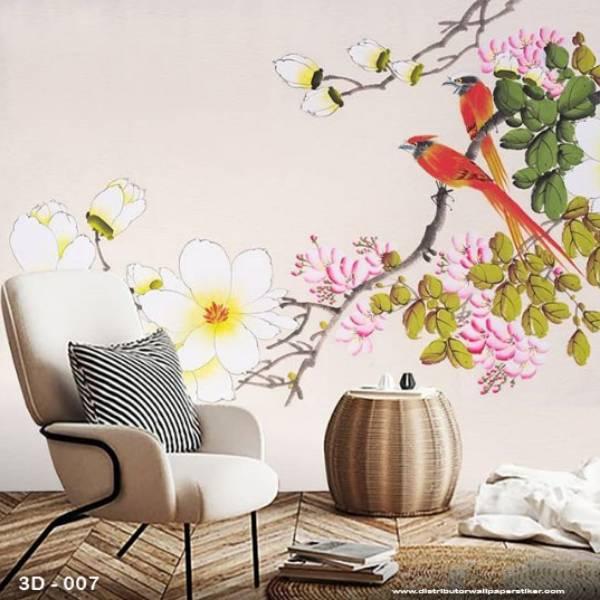 3D Wallpaper Custom Wallpaper Dinding | Motif Lukisan Burung 3D - 0070