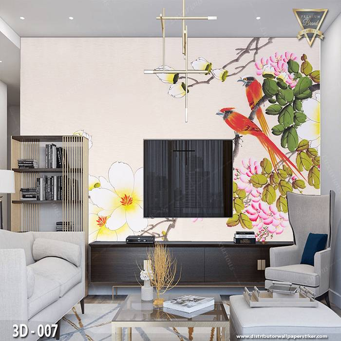 3D Wallpaper Custom Wallpaper Dinding | Motif Lukisan Burung 3D - 0071