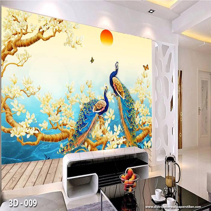 3D Wallpaper Custom Wallpaper Dinding | Motif Lukisan Burung 3D - 0090