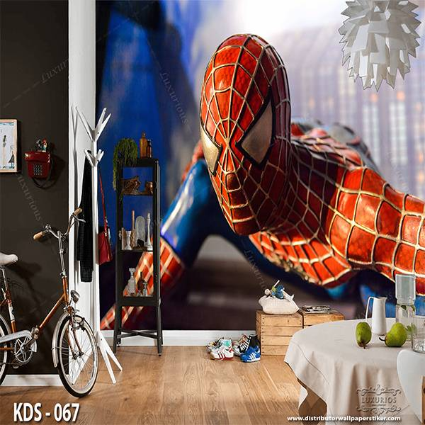 3D Custom Wallpaper Dinding | Motif Spiderman - KDS - 067