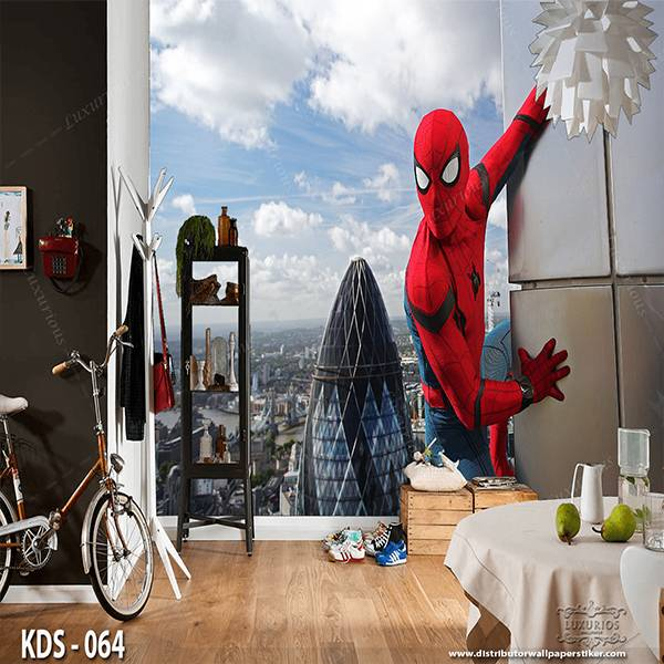 3D Custom Wallpaper Dinding | Motif Spiderman - KDS - 064