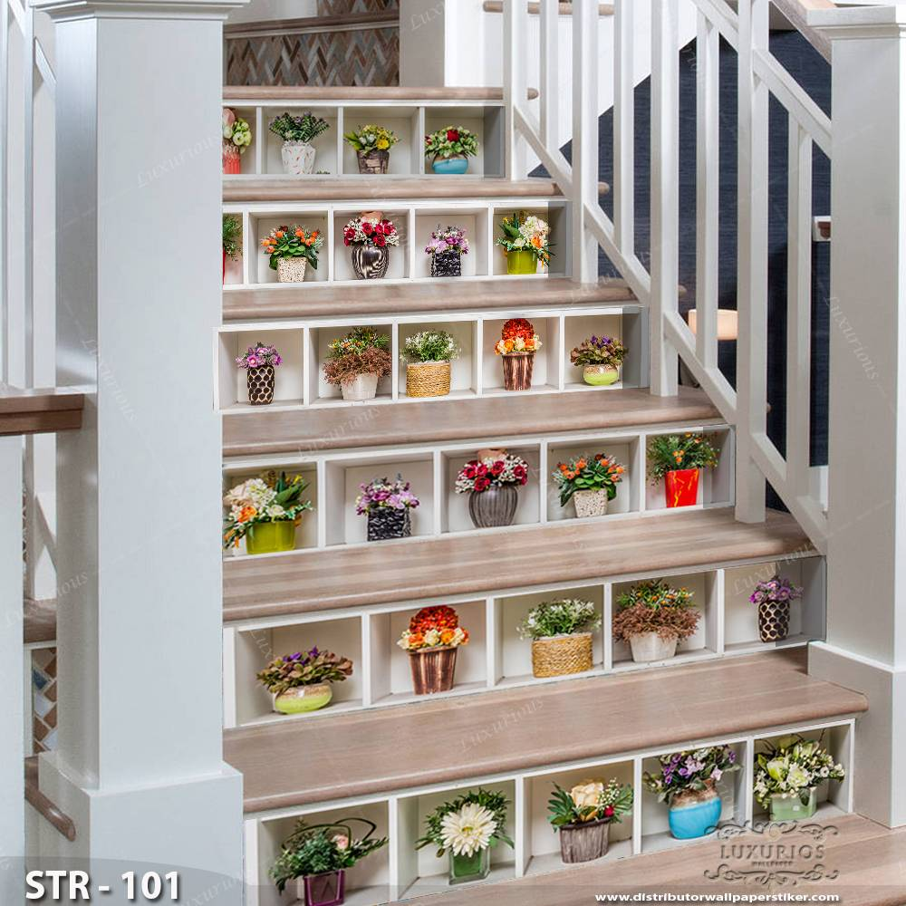 3D Stairway Wallpaper Custom - Tangga | STR - 101