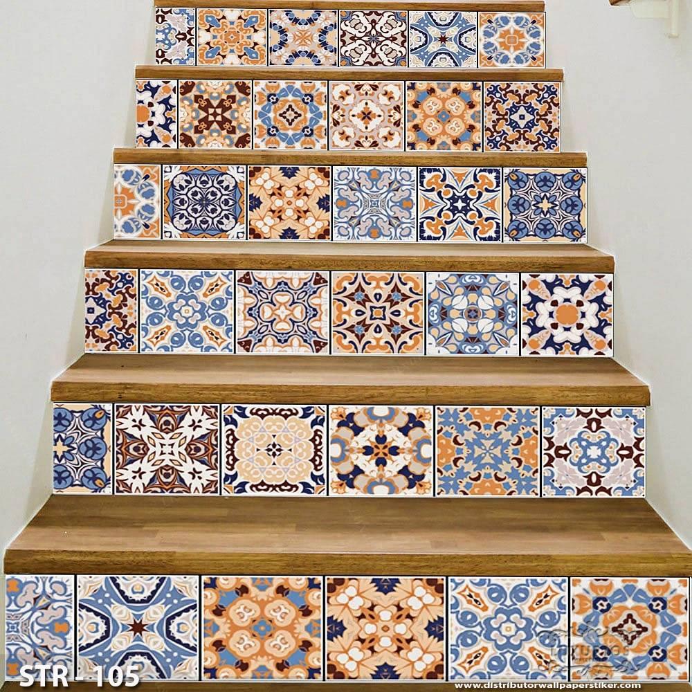 3D Stairway Wallpaper Custom - Tangga | STR - 1050
