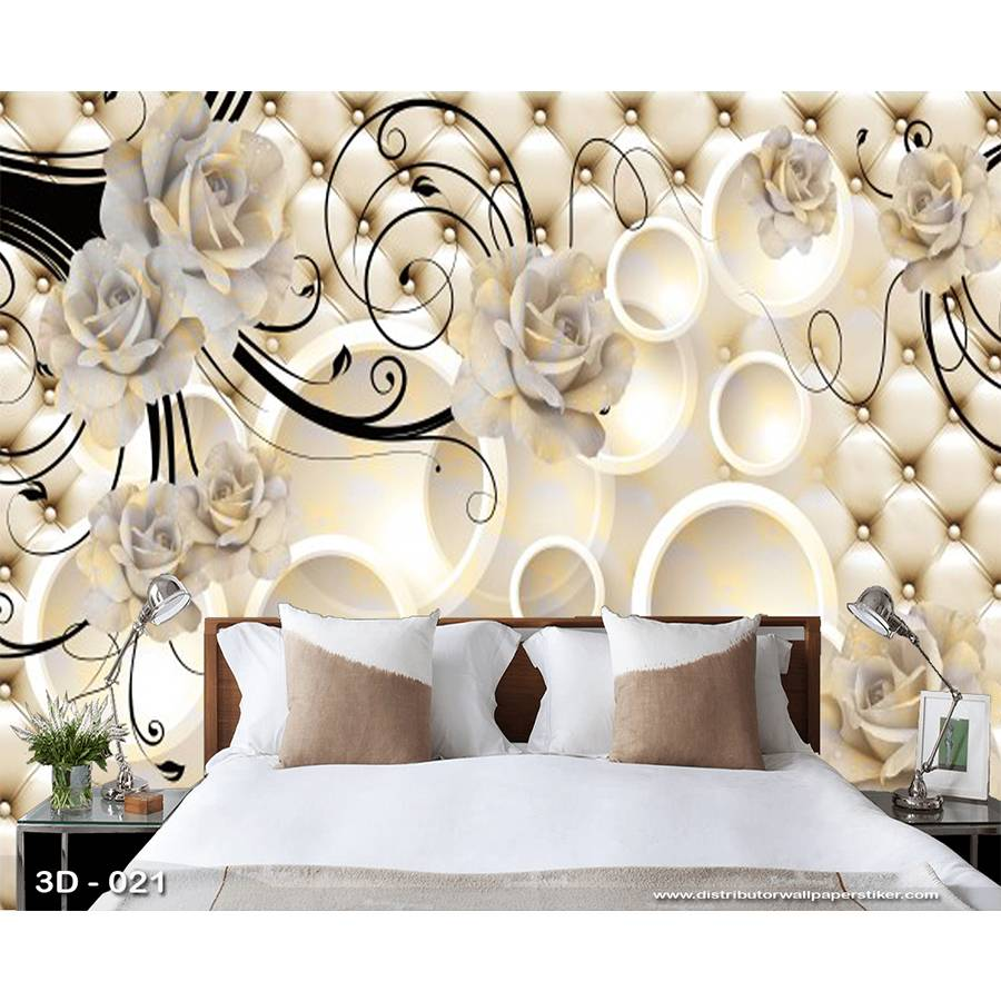 3D Custom Wallpaper Dinding | 3D - 021 - Klasik bunga0