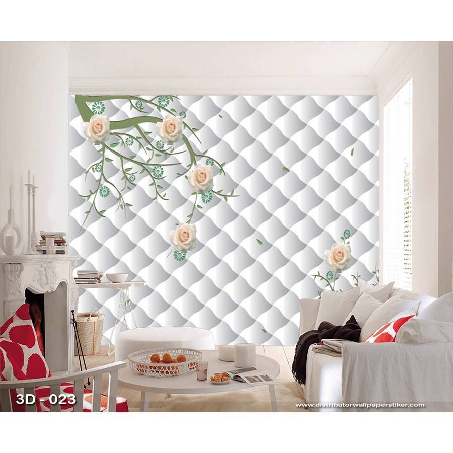 3D Custom Wallpaper Dinding | 3D - 023 - Klasik bunga2