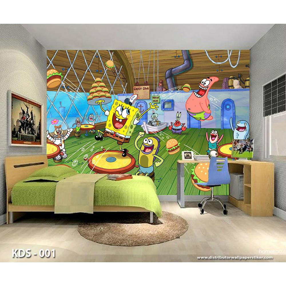 3D Custom Wallpaper Dinding | Motif Spongebob - KDS - 0011