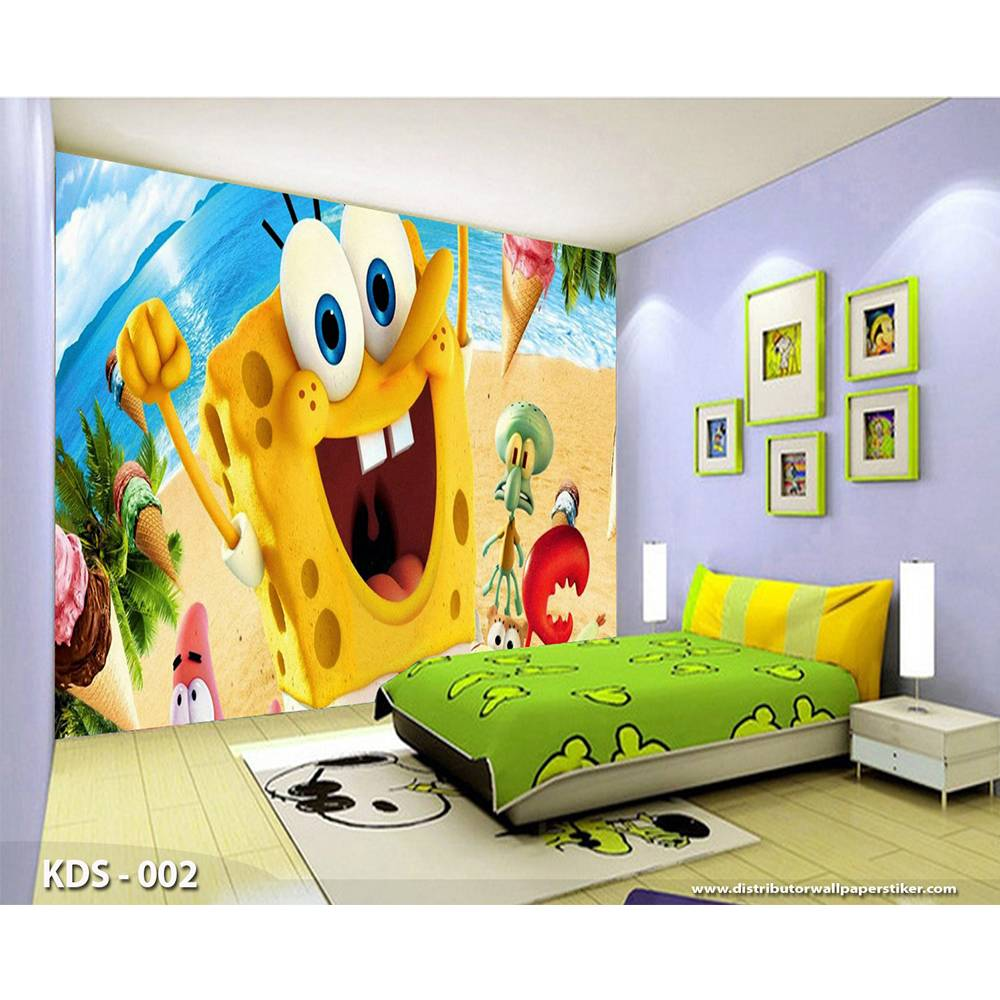 3D Custom Wallpaper Dinding | Motif Spongebob - KDS - 0020