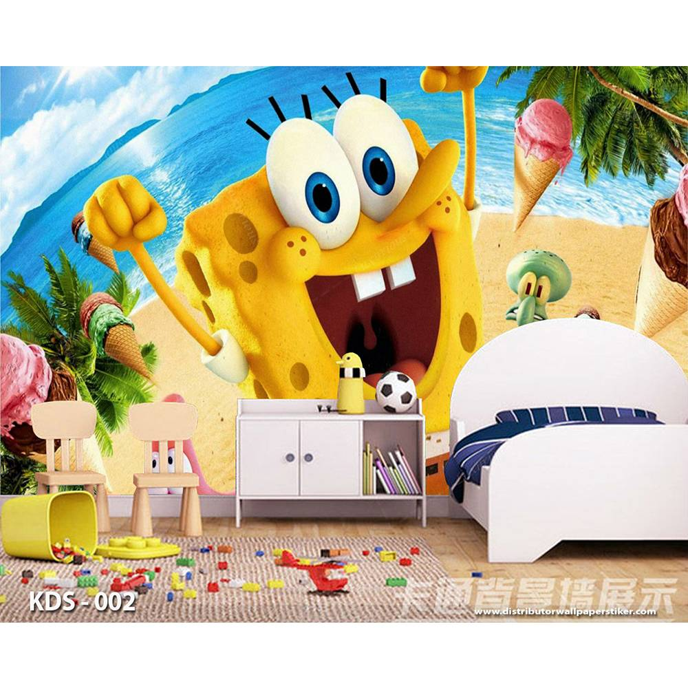 3D Custom Wallpaper Dinding | Motif Spongebob - KDS - 0021