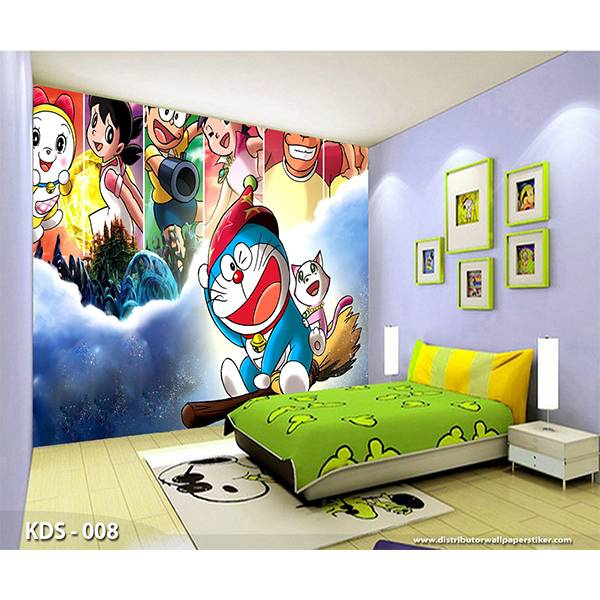 3D Custom Wallpaper Dinding | Motif Doraemon - KDS - 0080