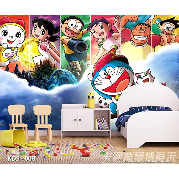 3D Custom Wallpaper Dinding | Motif Doraemon - KDS - 0081
