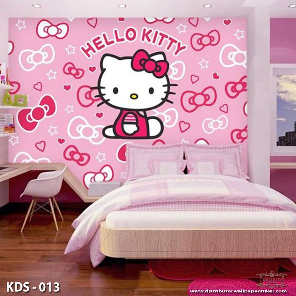 3D Custom Wallpaper Dinding | Motif Helo Kitty - KDS - 0130