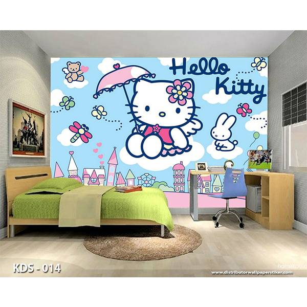 3D Custom Wallpaper Dinding | Motif Helo Kitty - KDS - 0140