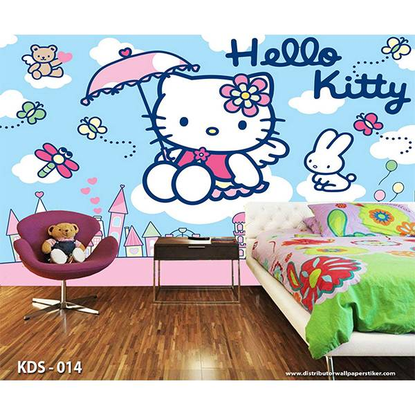 3D Custom Wallpaper Dinding | Motif Helo Kitty - KDS - 0141