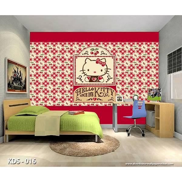 3D Custom Wallpaper Dinding | Motif Helo Kitty - KDS - 0160
